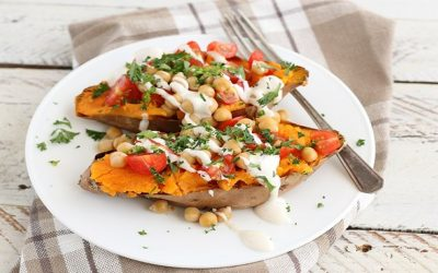 MEDITERRANEAN BAKED SWEET POTATOES